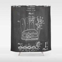 Baseball Glove Patent - Baseball Art - Black Chalkboard Shower Curtain