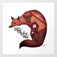 red riding hood Art Prints featuring Little Red Riding Hood by olivier silven