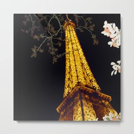 Paris Eiffel Tower Painted Style Metal Print
