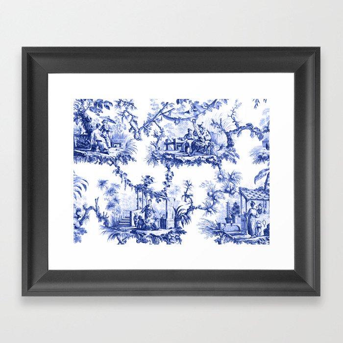 Blue Chinoiserie Toile Gerahmter Kunstdruck