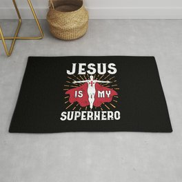 Jesus Is My Superhero Christian Faith Kids Rug