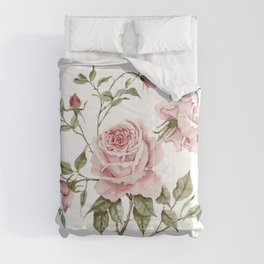 Pink Roses – Original Watercolor Comforters
