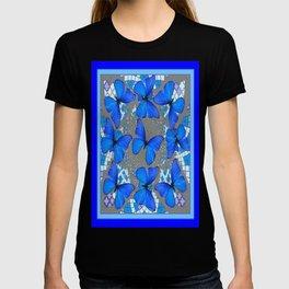 Decorative Blue Shades Butterfly Grey Pattern Art T-shirt