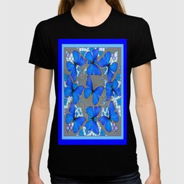 Decorative Blue Shades Butterfly Grey Pattern Art T-shirt