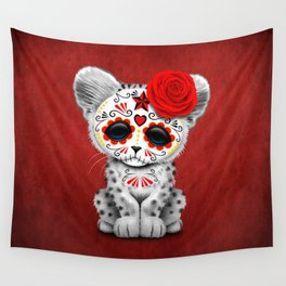 Red Day of the Dead Sugar Skull Snow Leopard Cub Wall Tapestry