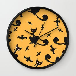 Seamless Halloween Pattern with cats and bats Wall Clock
