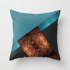 Aqua blue and bronze sparkles modern color block art Throw Pillow