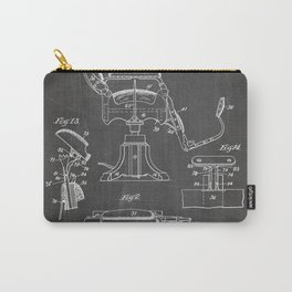 Barbers Chair Patent - Barber Art - Black Chalkboard Carry-All Pouch