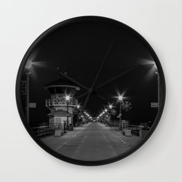 Early Morning Lights on Huntington Beach pier Wall Clock