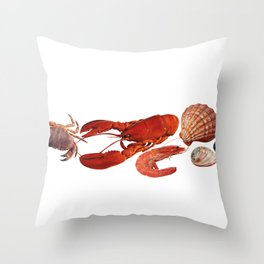 seafood shell scallop lobster shrimps white Throw Pillow