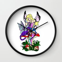 Faerie On Mushroom And Dragon Wall Clock