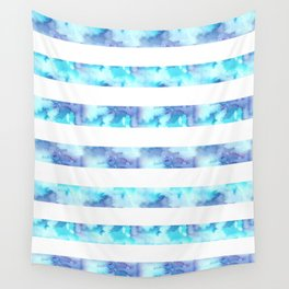 Blue & Purple Watercolor Stripes Wall Tapestry