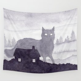 The Evening of Giant Cats Wall Tapestry