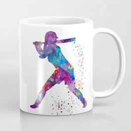 Girl Baseball Softball Batter Watercolour Sports Art Colorful Baseball Print Coffee Mug