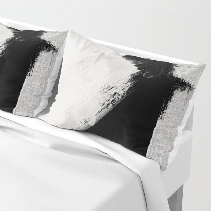 brush stroke black white painted Pillow Sham