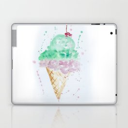 Icecream Summer love Cherry illustration ice cream cone watercolor Laptop & iPad Skin
