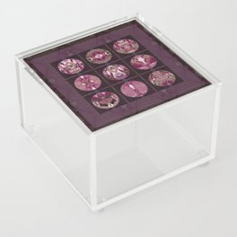 Red Shiso Positive Messages Quilt Art Acrylic Box