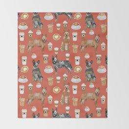Australian Cattle Dog coffee pet friendly dog breed dog pattern art Throw Blanket