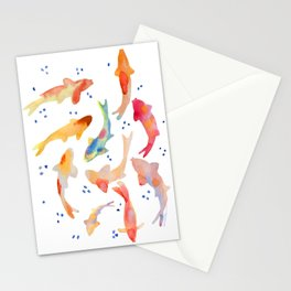 Watercolored Koi Pond Stationery Cards