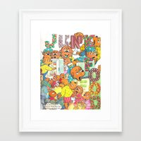 junk food Framed Art Prints featuring JUNK FOOD by PIZZZA TIME