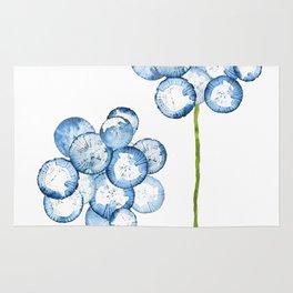 2 abstract indigo dandelions Rug