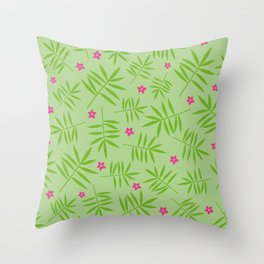 Palm Leaves Pattern Green Throw Pillow