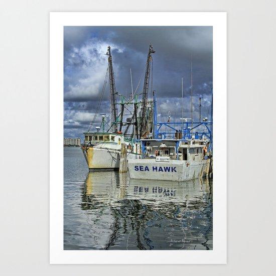 Sea Hawk Under Cloud Cover Art Print