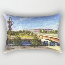 West Ham Olympic Stadium And The Arcelormittal Orbit Art Rectangular Pillow