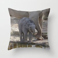 baby elephant Throw Pillows featuring Elephant Baby by MehrFarbeimLeben