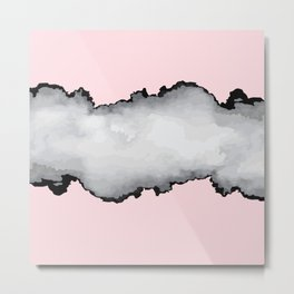 Blush Pink Gray and Black Graphic Cloud Effect Metal Print