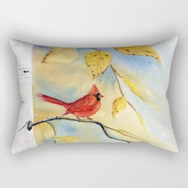 Cardinal on birch Tree Rectangular Pillow