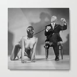 The Master - Nude woman in bdsm setting Metal Print