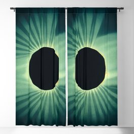 Teal Color Sun Eclipse Abstract Minimalism Blackout Curtain