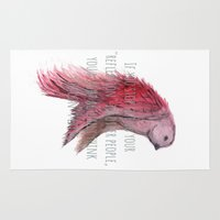 text Area & Throw Rugs featuring birdy text!  by gasponce
