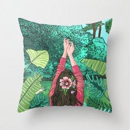 Comic Book Jungle Throw Pillow
