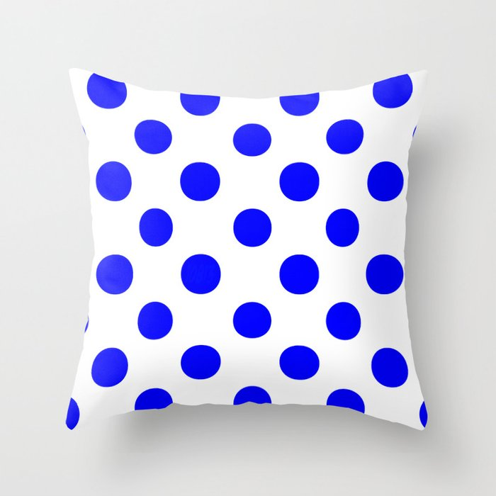 Polka Dots (Blue/White) Throw Pillow