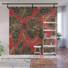 Bright red black gold oriental floral Wall Mural