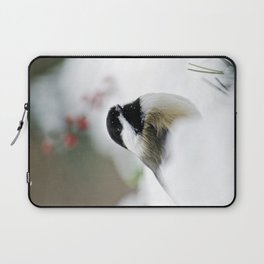 White Winter Chickadee Laptop Sleeve
