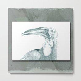 Toucan in Green Metal Print