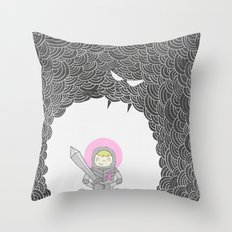 Strong Warrior (Breast Cancer Version) Throw Pillow