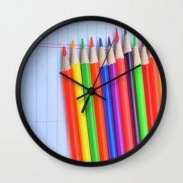 Neon Pencils Wall Clock