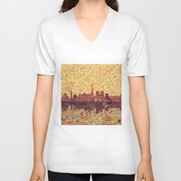 skyline V-neck T-shirts featuring Paris skyline  by Bekim ART