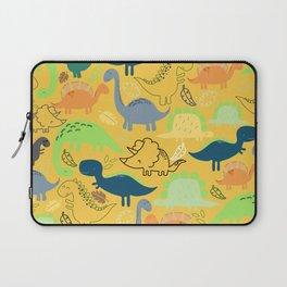 Dinosaur doodle yellow background Laptop Sleeve