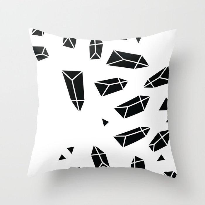 Black Crystals Throw Pillow