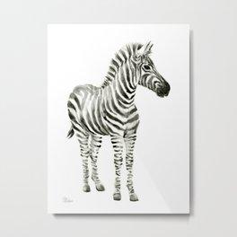 Zebra Watercolor Baby Animals Metal Print