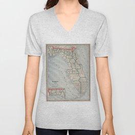 Vintage Map of Florida (1883) Unisex V-Neck