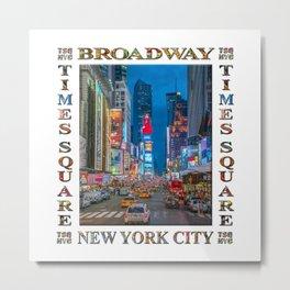 Times Square & Broadway (poster on white) Metal Print