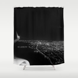 Chicago Skyline. Airplane. View From Plane. Chicago Nighttime. City Skyline. Jodilynpaintings Shower Curtain