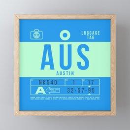Luggage Tag B - AUS Austin Bergstrom USA Framed Mini Art Print