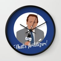 dana scully Wall Clocks featuring Vin Scully by Eric J. Lugo